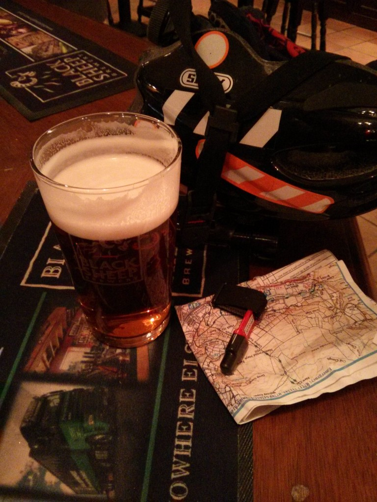 A well-earned pint, and some junk.