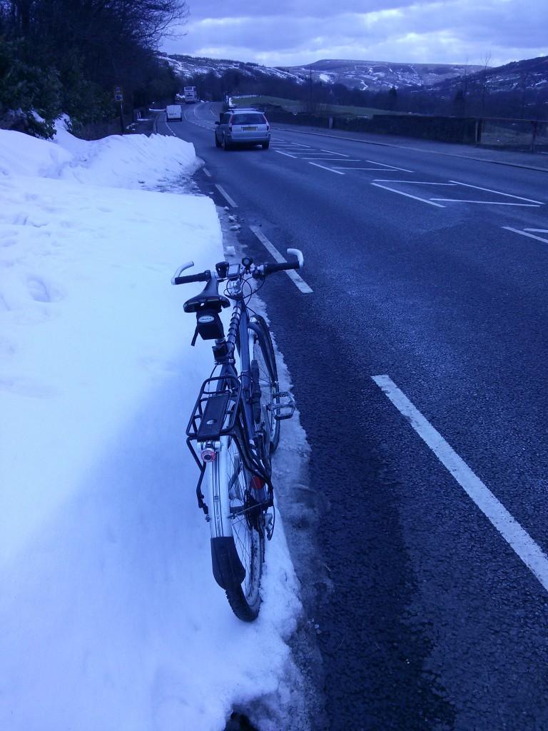 Bikelane snowdrifts.