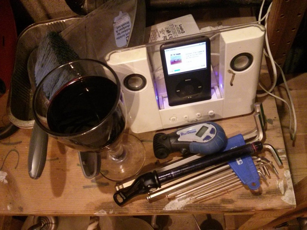 Wine, music, bike bits and tools, ingredients for a relaxing evening in.
